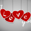 Valentine hanging labels. Vector art — Imagen vectorial