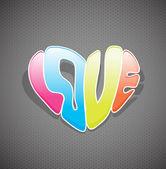 Signo de amor coloridos dibujados a mano. — Vector de stock