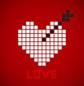 Pixelated heart with black arrow. — Stock Vector