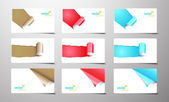 Set of gift cards with rolled corners. — Stock Vector