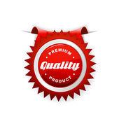 Röd etikett med kvalitet tecken. — Stockvektor