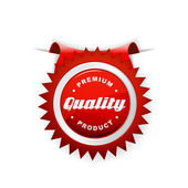 Rótulo vermelho com sinal de qualidade. — Vetorial Stock