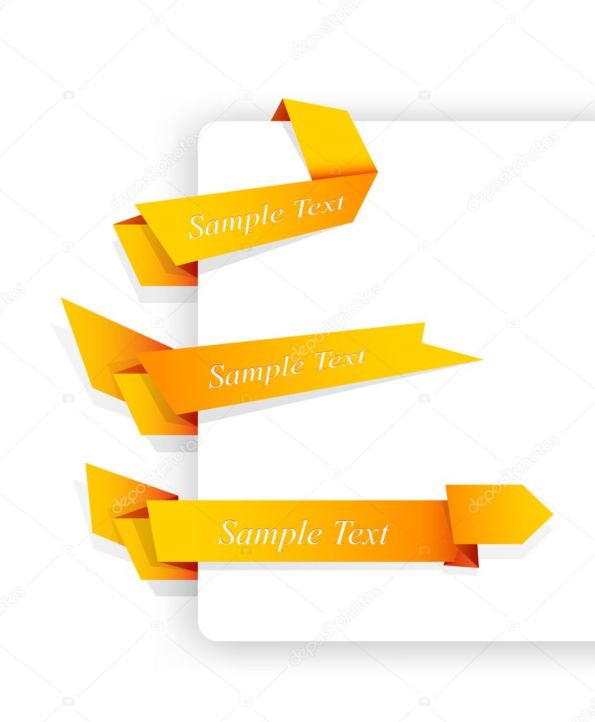 Set of orange origami ribbons for your text.  Stock Vector #9957637