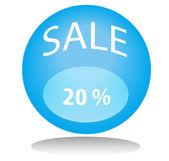 Bola azul venta — Vector de stock