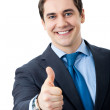 Businessman with thumbs up gesture, isolated — Stock Photo #10116998