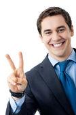 Kaufmann mit zwei fingern oder victory-zeichen — Stockfoto