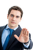 Businessman with stop gesture, on white — Stock Photo