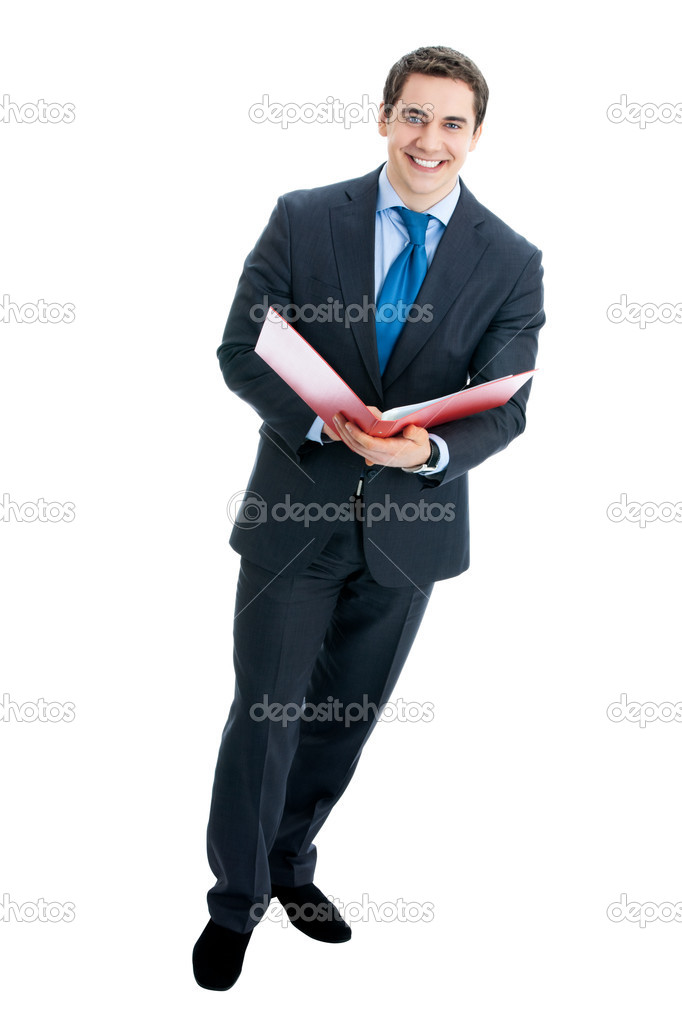 Full body portrait of happy smiling business man with red folder, isolated over white background — Stock Photo #10117130