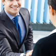 Two businesspeople or businessman and client handshaking — Stock Photo