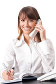 Businesswoman with phone, isolated — Stock Photo