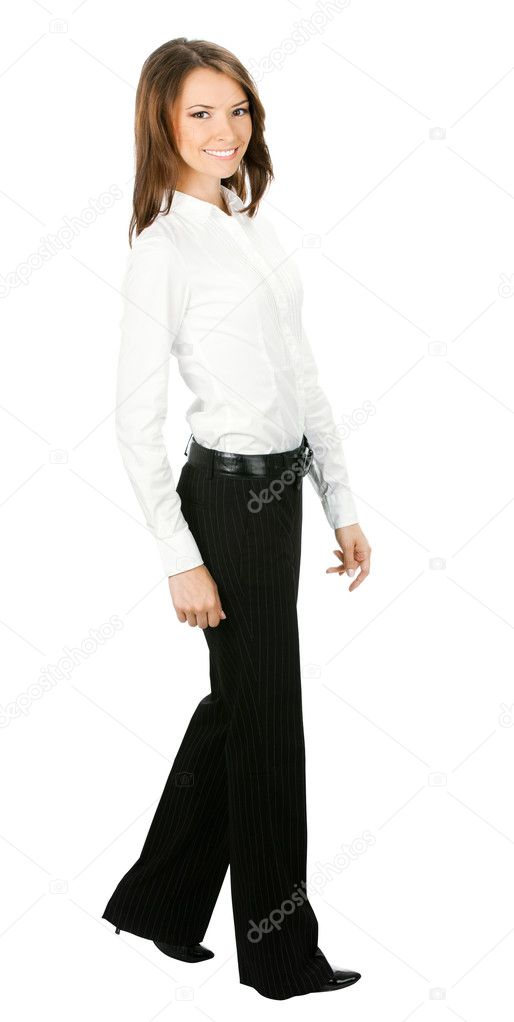 Full body portrait of walking business woman, isolated over white background — Stock Photo #10567271