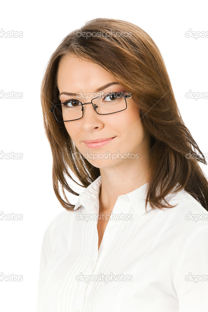 Portrait of young happy smiling business woman, isolated over white background — Stock Photo #10567309