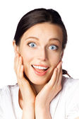 Smiling surprised businesswoman, isolated — Stock Photo