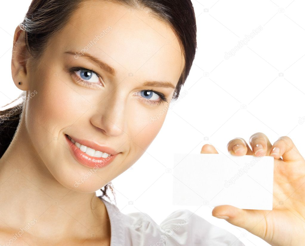 Portrait of smiling business woman giving blank business card, isolated over white background — Stockfoto #8585848