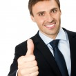Businessman with thumbs up gesture, isolated — Stock Photo