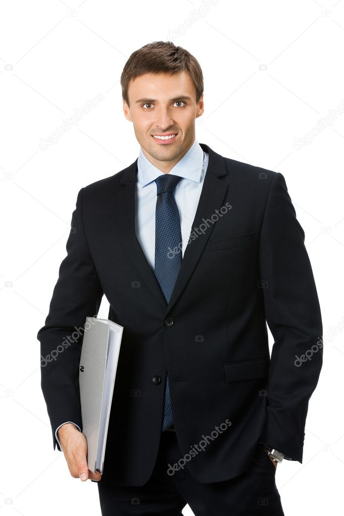 Portrait of happy smiling business man with gray folder, isolated over white background — Stock Photo #8665521