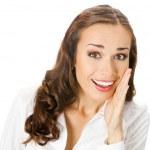 affärskvinna som täcker munnen, isolerade — Stockfoto