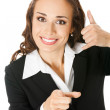 Businesswoman with call me gesture, on white — Stock Photo #8759876