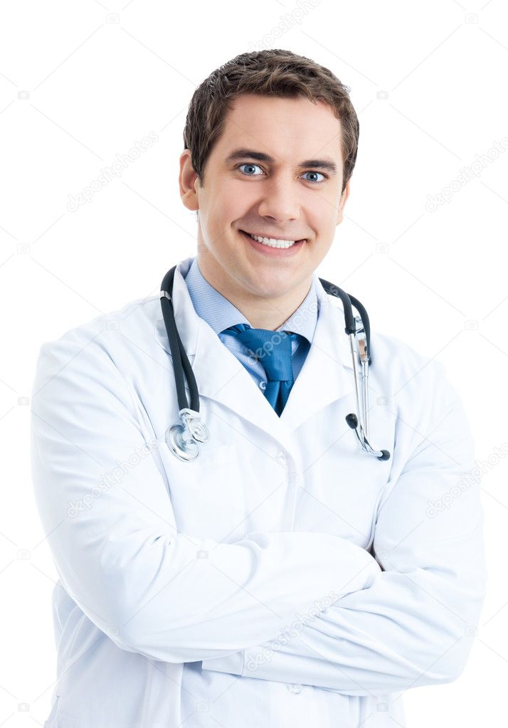 Portrait of young happy smiling doctor, isolated over white background  Stock Photo #8822065