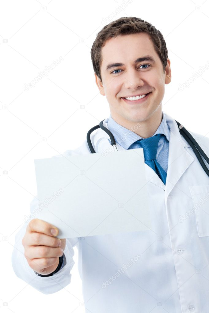 Portrait of happy smiling young doctor with signboard, isolated over white background — Stock Photo #8822097