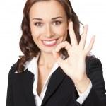 mulher de negócios com gesto bem, branco — Foto Stock