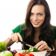 Woman with vegetarian food, isolated — Stock Photo