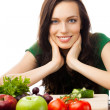 Stock Photo: Womwith vegetarifood, isolated
