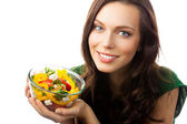 Young woman with salad, on white — Stock Photo