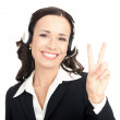 Support operator showing two fingers, on white — Stock Photo #9456487