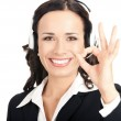 Support operator with okay gesture, on white — Stock Photo #9456503