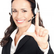 Support operator showing two fingers, on white — Stock Photo #9456531