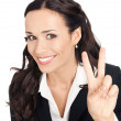Businesswoman showing two fingers, on white — Stock Photo
