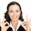 Businesswoman with okay gesture, on white — Stockfoto