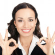 Businesswoman with okay gesture, on white — Foto de Stock