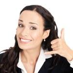affärskvinna med kalla mig gest — Stockfoto