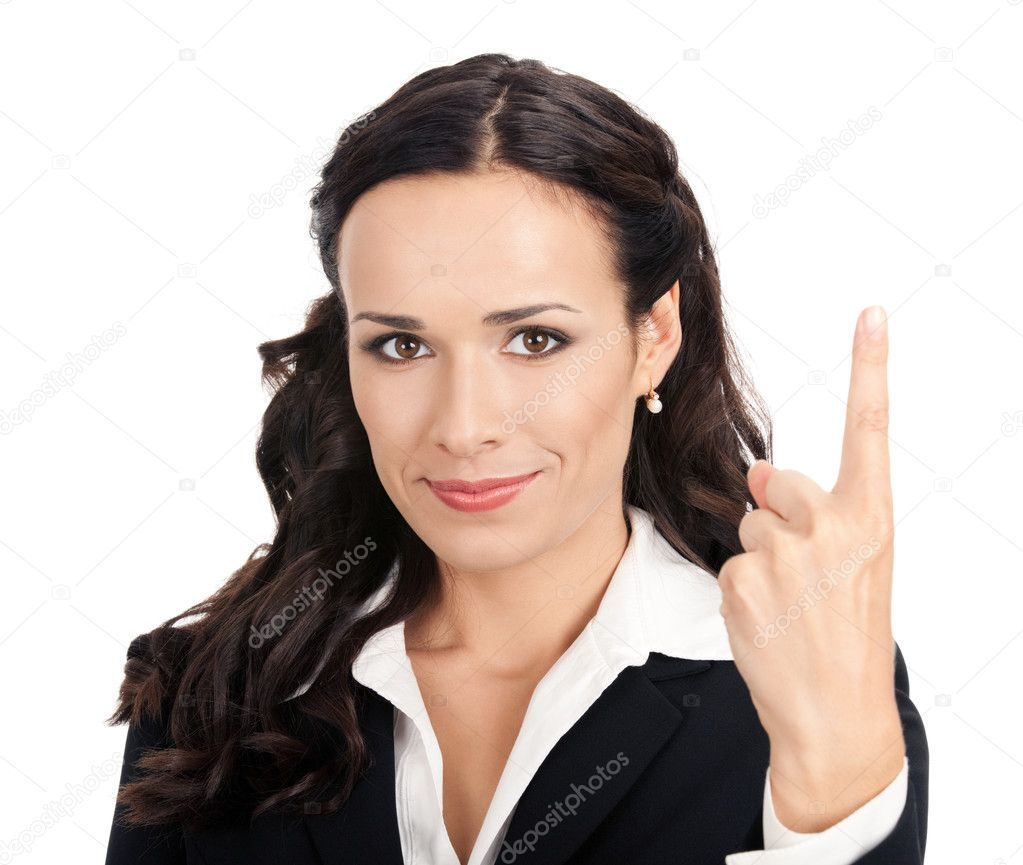 Happy smiling young business woman showing one finger, isolated over white background  Stock Photo #9456576
