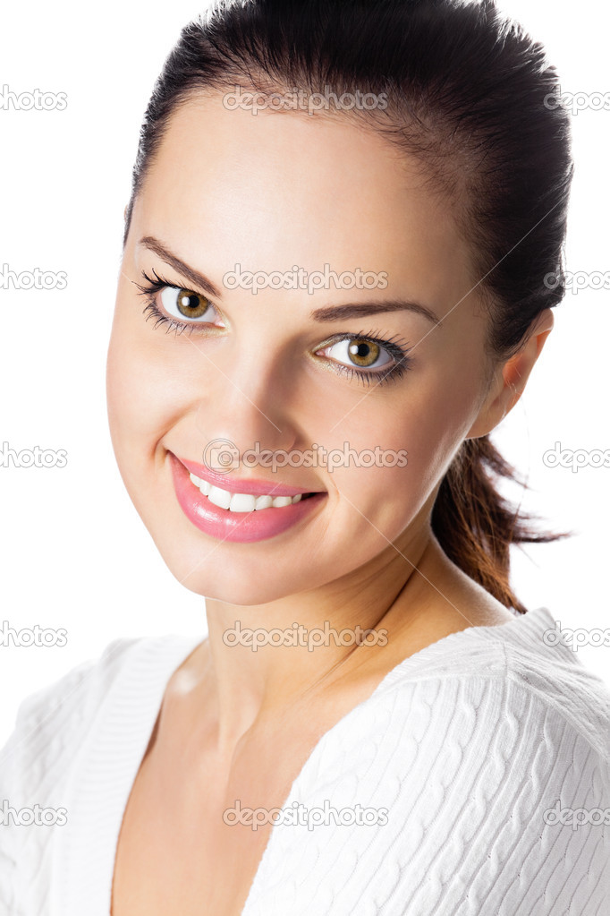 Portrait of happy smiling cheerful young woman, isolated over white background — Stock Photo #9472470