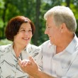 Senior happy couple embracing, outdoors — Foto de stock #9701178
