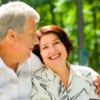 Senior happy couple embracing, outdoors — Stock fotografie #9701196