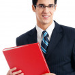 Businessman with red folder, isolated — Stock Photo