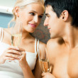 Young happy couple with champagne — Stock Photo #9818604