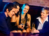 Young happy with champagne at party — Foto Stock