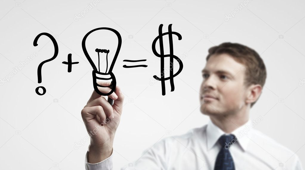 Young business man drawing a idea for making money — Stock Photo #10318921