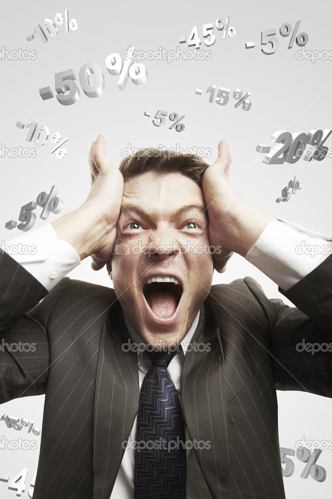 Portrait of a young man shouting loud under falling percents signs above his head. Discount concept depicting percentage symbols falling on man.  — Stock Photo #7982707