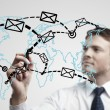 Young business man drawing a global network with envelopes on world map — Stock Photo #8063749