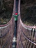 Boy on swing bridge — Stock Photo