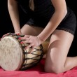 Stock Photo: Djembe and sexy woman