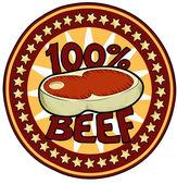 Badge 100Beef — Stock Vector