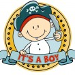 Vector de stock : Cute little pirate boy