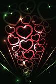 Lichtmalerei Herzen — Stock Vector